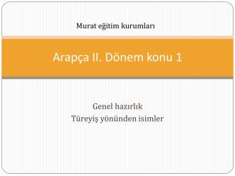 Arapça II. Dönem konu 1
