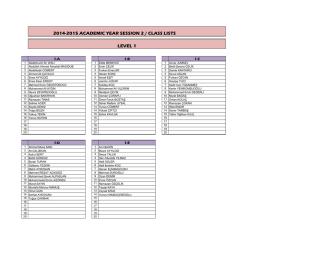 2014-2015 academıc year sessıon 2 / class lısts level 1