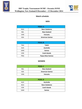 13 December 2014 Match schedule MEN POOL A