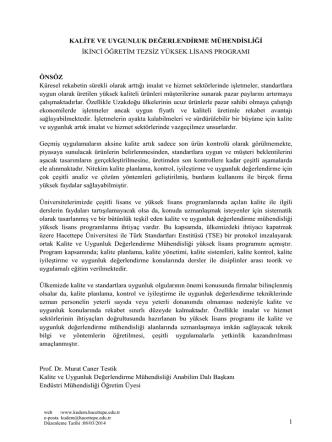 Bilgi Paketi - Kalite ve uygunluk değerlendirme mühendisliği