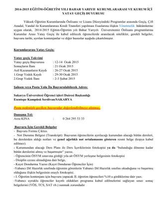 2014-2015 eğitim öğretim yılı bahar dönemi kurumlararası yatay