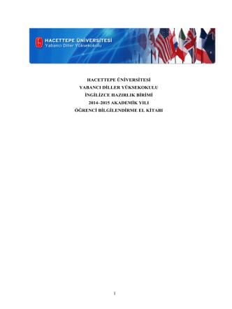 2014-2015 akademik yılı ingilizce hazırlık