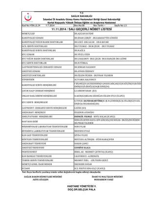 11.11.2014 / salı geçerli nöbet listesi