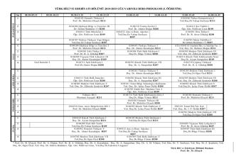 2014-2015 GUZ Ders Programı - Türk Dili ve Edebiyatı Bölümü