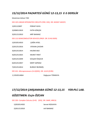 15/12/2014 PAZARTESİ GÜNÜ 12-13,15 E