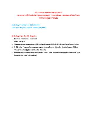 2014-2015 Yatay-Dikey Geçiş Değerlendirme Sonuçları