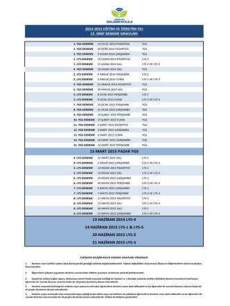21 haziran 2015 lys-3 15 mart 2015 pazar ygs 13 haziran 2014 lys