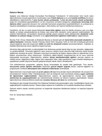 Dekanın Mesajı - Fen-Edebiyat Fakültesi