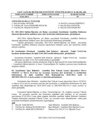 05 - Sağlık Bilimleri Enstitüsü - Süleyman Demirel Üniversitesi