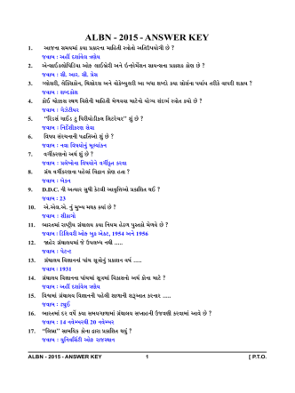 ALBN - 2015 - ANSWER KEY - ht t p:/ / oj as.guj .ni c.i n