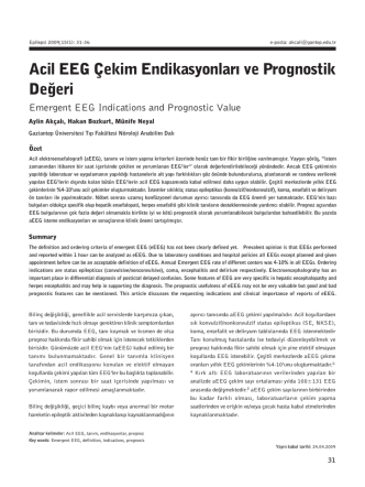 Acil EEG Çekim Endikasyonları ve Prognostik Değeri