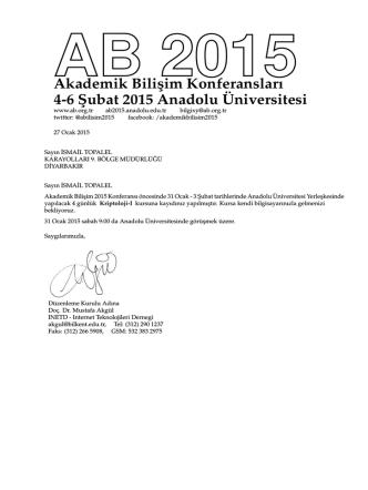Akademik Bilisim Konferansları 4-6 S¸ ubat 2015 Anadolu¨Universitesi