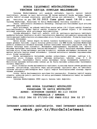 06.02.2015 Tarihli Yerinde Satış Hurda Malzeme Listesi