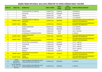 beşirli imkb ortaokul 2014-2015 öğretim yılı ikinci dönem sınav takvimi