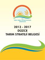 Düzce İli Tarım Strateji Belgesi 2013-2017