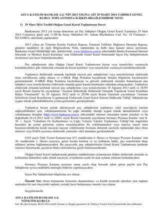 29 Mart 2014 - Olağan Genel Kurul Bilgilendirme Notu