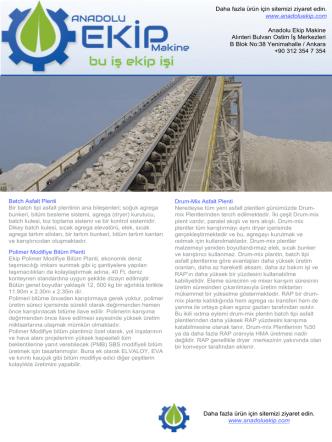 Asfalt Plent Katalog - Anadolu Ekip Makine