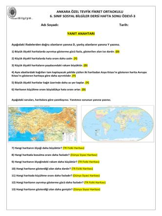 ANKARA ÖZEL TEVFİK FİKRET ORTAOKULU 6. SINIF SOSYAL