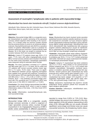 Assessment of neutrophil / lymphocyte ratio in patients with