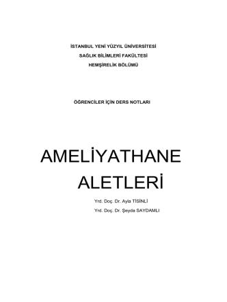 AMELİYATHANE ALETLERİ - İstanbul Yeni Yüzyıl Üniversitesi
