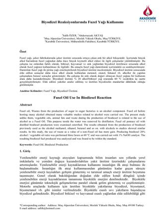 Biyodizel Reaksiyonlarında Fuzel Yağı Kullanımı Fusel Oil Use In