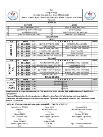 BO YAB A T S.S. GER ZE S.S. - Sinop Gençlik Hizmetleri ve Spor İl