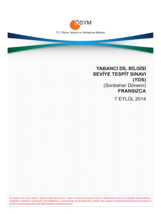(YDS) (Sonbahar Dönemi) FRANSIZCA 7 EYLÜL 2014
