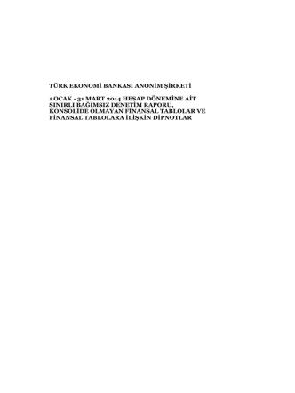 31 Mart 2014, BDDK Standartlarına Göre Solo Bağımsız