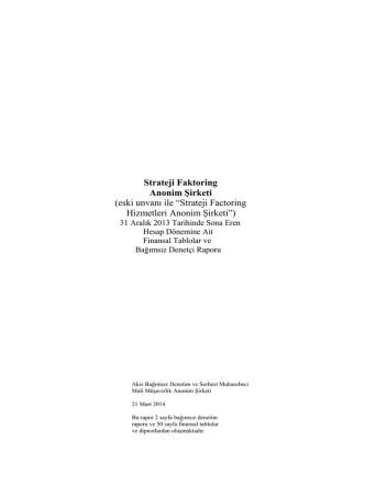 2013 mali bilgiler - Strateji Faktoring