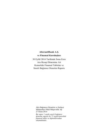 30.09.2014 tarihli konsolide finansal raporu
