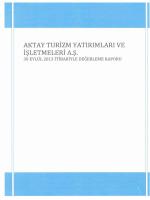 AKTAY TUniZM YATIRIMLARI VE işı,nTMELERİ A.ş.