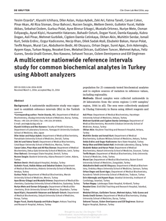 A multicenter nationwide reference intervals study for common