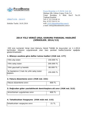 2014 yılı vergi usul kanunu parasal hadleri (sirküler