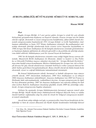 avrupa (birliği) bütünleşme süreci ve sorunları
