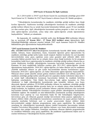 6569 Sayılı Af Kanunu İle İlgili Açıklama 26.11.2014 tarihli ve 29187