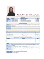 Assist. Prof. Dr. Nazlı SAVLAK