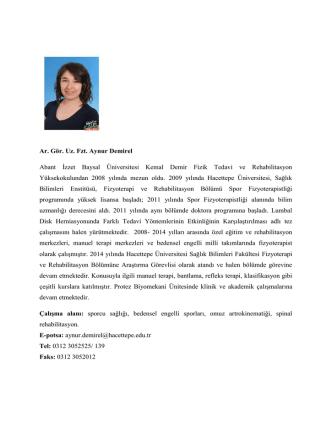 Ar. Gör. Uz. Fzt. Aynur Demirel Abant İzzet Baysal Üniversitesi