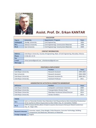 Asst. Prof. Dr. Erkan KANTAR