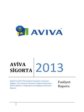 1- Aviva Sigorta AŞ 31 Aralık 2013 Yönetim Kurulu Faaliyet Raporu