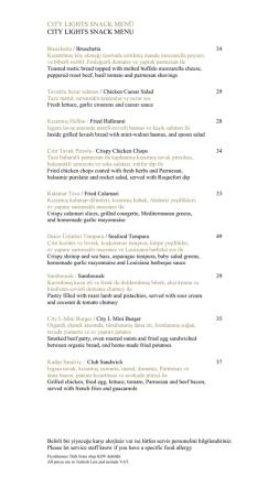 City Light Bar Menüsünü PDF olarak indirmek için tıklayın.