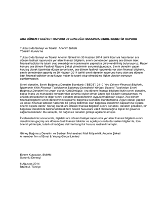 2014 6 Aylık Yönetim Kurulu Faaliyet Raporu