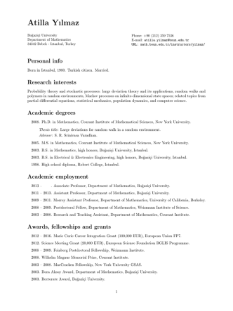 CV - Department of Mathematics