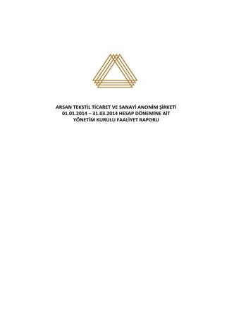 31.03.2014 faaliyet raporu