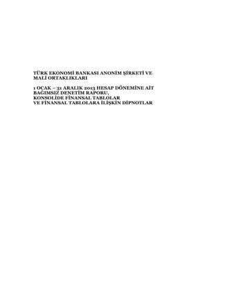 31 Aralık 2013, BDDK Standartlarına Göre Konsolide Bağımsız