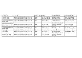 Analiz Fiyat Listesi PDF