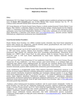 2013 GK Bilgilendirme Dökümaný ve Vekaletname