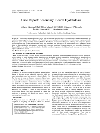 Case Report: Secondary Pleural Hydatidosis