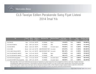 CLS Tavsiye Edilen Perakende Satış Fiyat Listesi - Mercedes-Benz