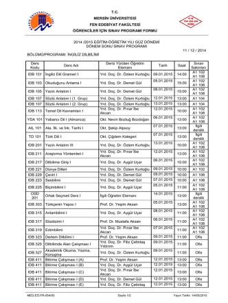 2014-2015 Eğitim Öğretim Yılı Güz Yarıyılı 1., 2., 3. ve 4. sınıflara ait