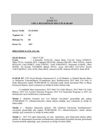 21 Ekim 2014 Meclis Kararı